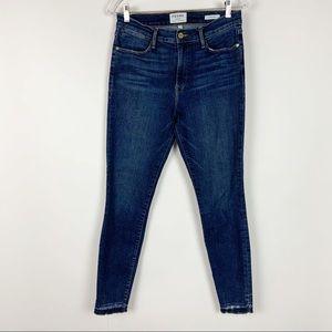 Frame Skinny Jeans Frayed Hem Dark Wash